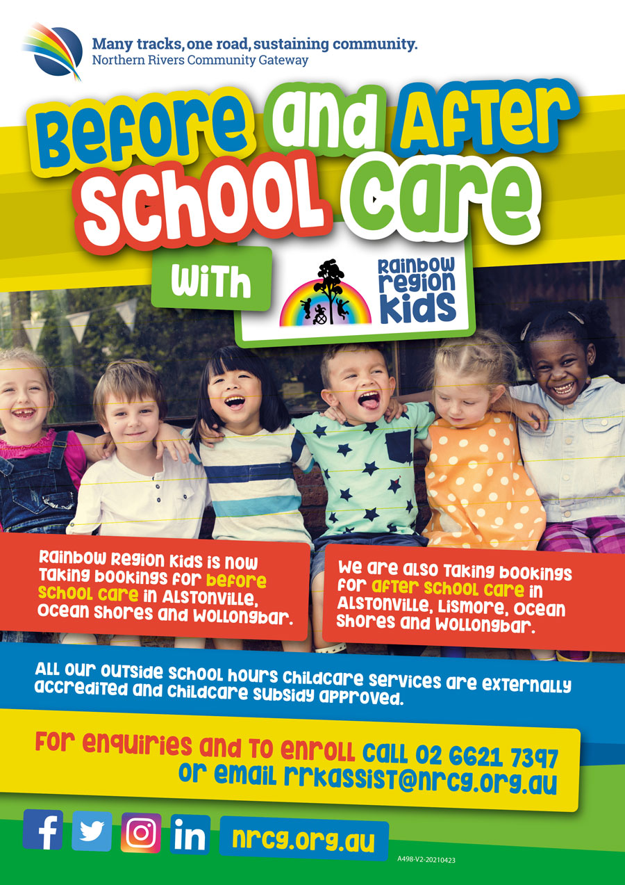 Rainbow Region Kids before and after school care poster art